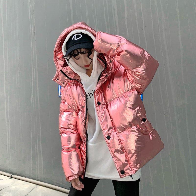 Streetwear ins super fire silver shiny oversized Winter jacket thick warmth Harajuku down jacket women top
