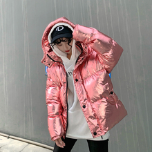 Streetwear ins super fire silver shiny oversized Winter jack