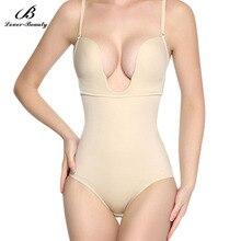 Modelador de corpo sem costura feminino, roupa de baixo costas abertas controle firme em u modelador de corpo fajasa