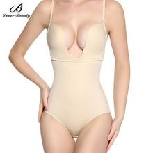 عاشق الجمال المرأة سلس شركة تحكم ملابس داخلية U يغرق بدلة للجسم بيكيني عارية الذراعين ثونغ أسفل التخسيس محدد شكل الجسم FajasA