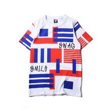 2016 Fashion Letter Print Male Streetwear T-shirts Men Swag Funny Cotton Short Sleeve O-neck Stripes Casual tshirts Summer Tees