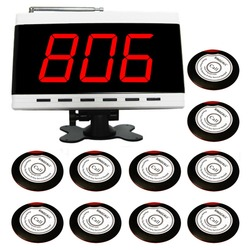 SINGCALL Wireless Paging System, 10 Single Button Slim Table Bells APE700RW and 1pc White Display Receiver APE9500