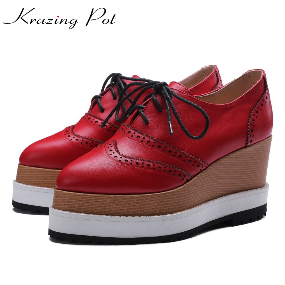 Krazing Pot genuine leather shoes woman cross-tied pointed toe British school wedge increased young lady causal oxford shoes L03 krazing pot empty after shallow shoes woman lace work flats pointed toe slip on sheep suede causal summer outside slippers l16