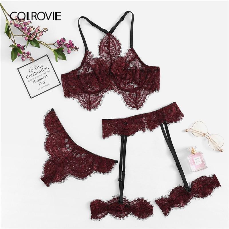 COLROVIE Burgundy Eyelash Lace Garter Floral Lace Intimates Sexy Lingerie   Set   Underwear Black Women Wireless Transparent   Bra     Set