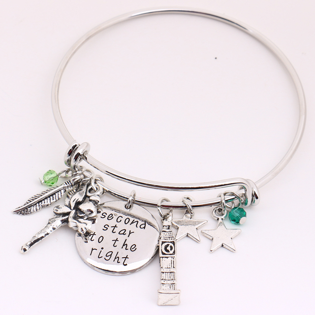 Peter Pan Bangle Second Star To The Right Pendant Tinkerbell Neverland Tower Leaf