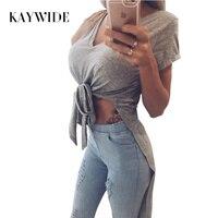 KAYWIDE 2017 Summer T Shirt Series Women T Shirt Solid Tops Long Back Tee Shirt Femme