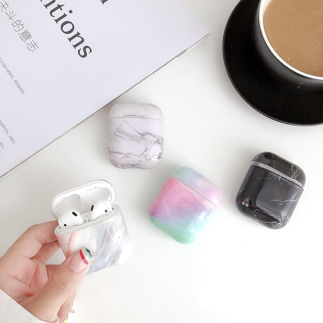 Caso do fone de ouvido para airpods 2 caso luxo mármore duro pc capa protetora fone de ouvido caixa de carregamento para apple airpods saco acessórios