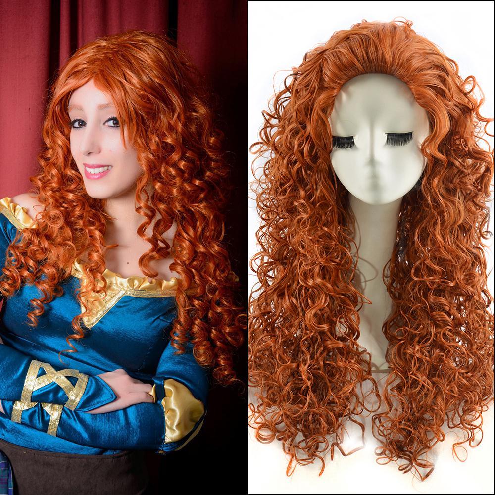 65cm Orange Long Kinky Curly Anime Brave Merida Cosplay Harajuku Women s  Wigs Cheap Synthetic Hair Loose Curl Women Wig 336753027
