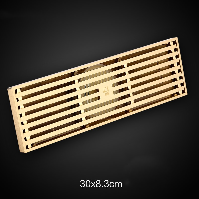 High quality Gold Pure copper brass 300*83mm bathroom Linear Shower Drain Floor Strainer drainer high quality gold solid brass 4 inch 100 100mm square deodorant bath floor drain shower waste water drainer