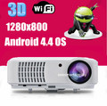 Envío Gratis 2500 lúmenes android 4.42 wifi LED Proyector de Vídeo Digital Proyector de Cine En Casa Full HD 1080 P Media Player