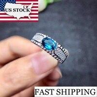 US STOCK Sri Lanka Sapphire Engagement Rings, Ring Silver 925 Women, Lady's Certified 5*7mm Gemstone Wedding Jewelry FJ217