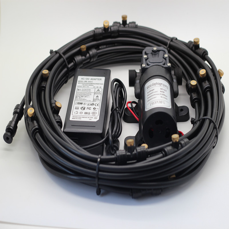 F077 12m (40feet) Misting Cooling System With 12V 60W Micro High Pressure Self Priming Diaphragm Pump& Power Supply