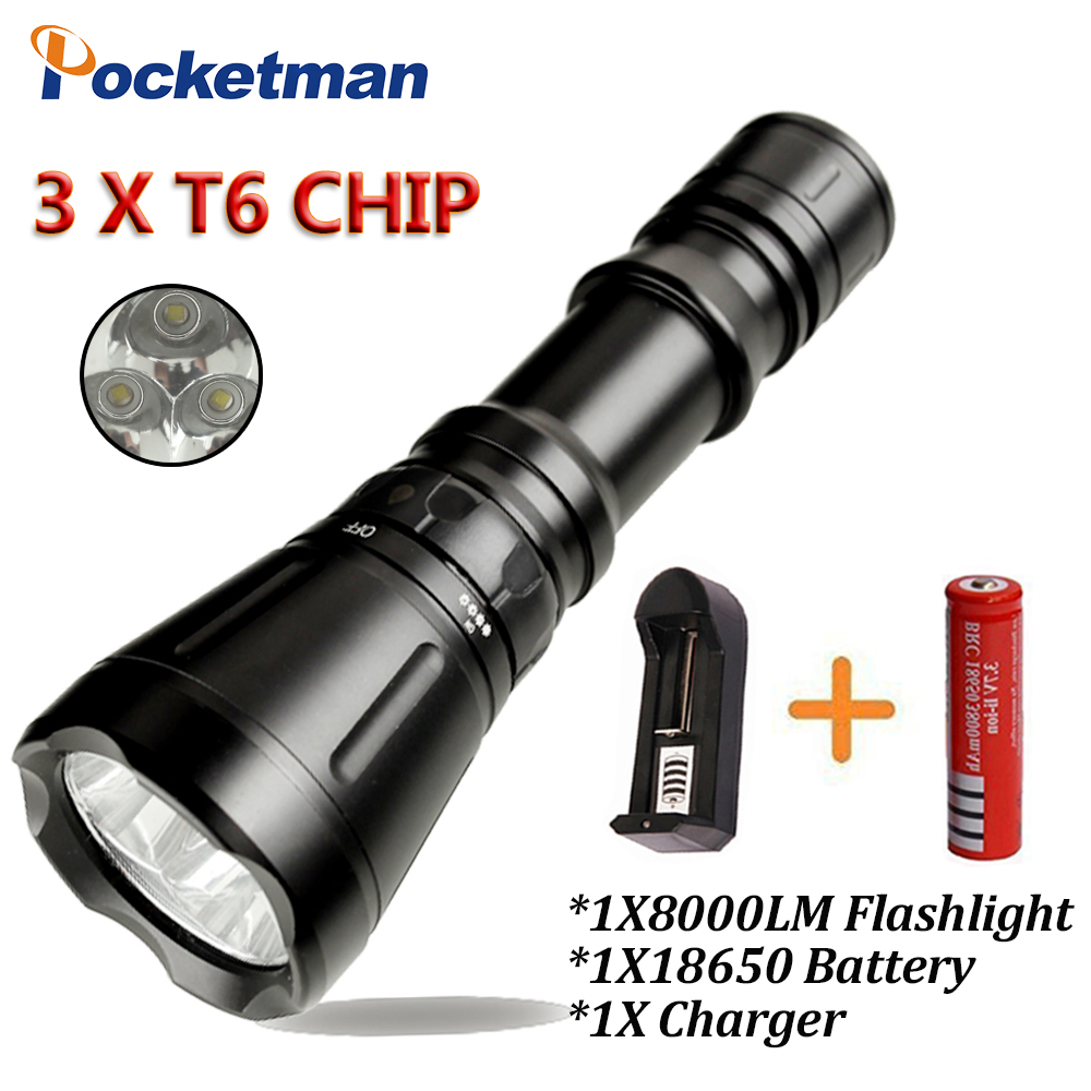 8000 Lumens Diving Flashlight 3* CREE XM-L T6 8-mode 60M LED Flash Light Waterproof Scuba Dive Torch Underwater Hunting 15led cree xm l t6 18000 lumens led flashlight 5 mode waterproof super bright torch flash light 1200m lighting distance light
