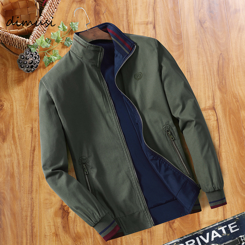 DIMUSI Spring Mens Bomber Jackets Fashion Men Outwear Windbreaker Stand Collar Jacket Man Slim Baseball Reversible Clothing
