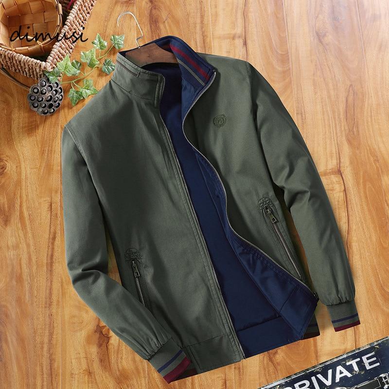 DIMUSI Spring Mens Bomber Jackets Fashion Men Outwear Windbreaker Stand Collar Jacket Man Slim Baseball Reversible Clothing