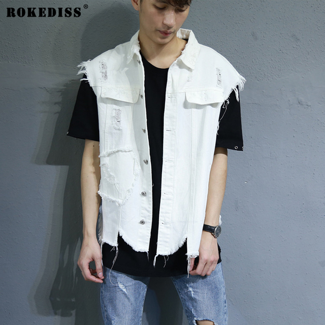 1a691f4ef6266d ROKEDISS 2017 Brand Mens Denim Vest With Sleeveless Jean Jacket Men Slim  Cowboy Vest white Holes Men s denim vest W109