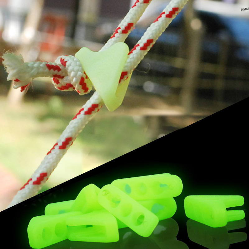 Outdoor Luminous Rope Buckle Fluorescence Tent Triangle Buckle Alert Reminder Accidental Danger Tent Wind Rope Adjuster 12PCS in Tent Accessories from Sports Entertainment