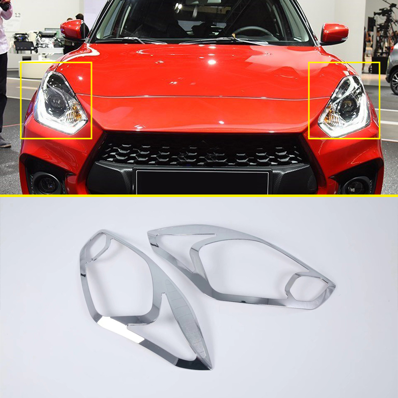 For Suzuki Swift Hatchback 2017 2018 Exterior Chrome Car Accessories Front Head Light Rear Light Lamp Cover Decor Trim