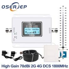 GSM LTE 1800 LCD 70dB 2g 4g Amplificatore Del Segnale Del Telefono Cellulare Ripetitore DCS 1800 MHz Mobile GSM + yagi/Pannello Antenna