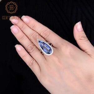 Image 5 - GEMS BALLET, nouveau anneau argent Sterling 925, nouveau, 11,48 ct, Quartz mystique, bleu, Iolite, grand anneau de mariage, goutte deau