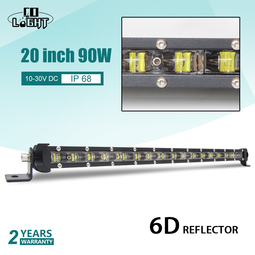 CO LIGHT 20 90W LED Light Bar 6D Offroad Combo Single Row Led Bar for Truck 4x4 SUV ATV PickUp Niva 12V 24V Auto Driving Lights amber white led offroad bar gdcreestar selling 20inch 12v led offroad bar kr9016 90 90w 12v led driving work bar lights