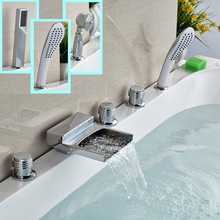 Deck Mount Widespread Bathtub Faucet 5pcs Brass Waterfall Spout Tub Mixer Taps Handshower 3 styles