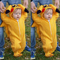 Lindo Pokemon Pikachu Trajes Mamelucos Del Mono Del Bebé Bebé Niño Chico Chica Otoño Invierno Mameluco Del Traje de Cosplay