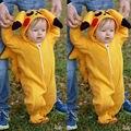 Pokemon Pikachu bonito Da Criança Do Bebê Da Menina Do Menino Macacão Macacão Roupas de Bebê Outono Inverno Romper Terno Traje Cosplay