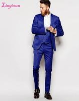 Linyixun Two Buttons Groomsmen Notch Lapel Groom Tuxedos Royal Blue Men Suits Wedding Best Man Blazer Jacket+Pants