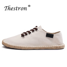 New Arrival 2018 Handmade Canvas Sneakers Men Linen Cotton Flats Top Quality Sewing Autumn Footwear Casual Shoes