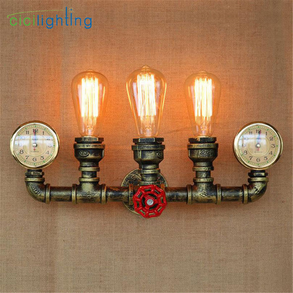 Steam punk Loft Industrial iron rust Water pipe retro wall lamp Vintage E27 sconce lights for living room bedroom restaurant bar loft steam punk big sword style decorative iron rust water pipe wall lamp vintage e27 led sconce lights for living room bedside
