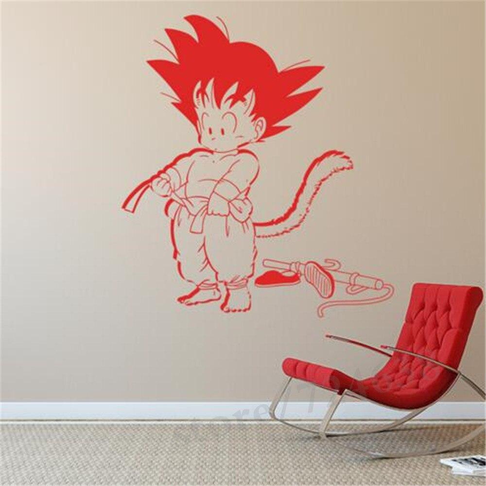 Art desain animasi kid goku dragon ball wall sticker vinyl film kartun dekorasi rumah diy dinding decal untuk kamar anak anak di wall stickers dari rumah