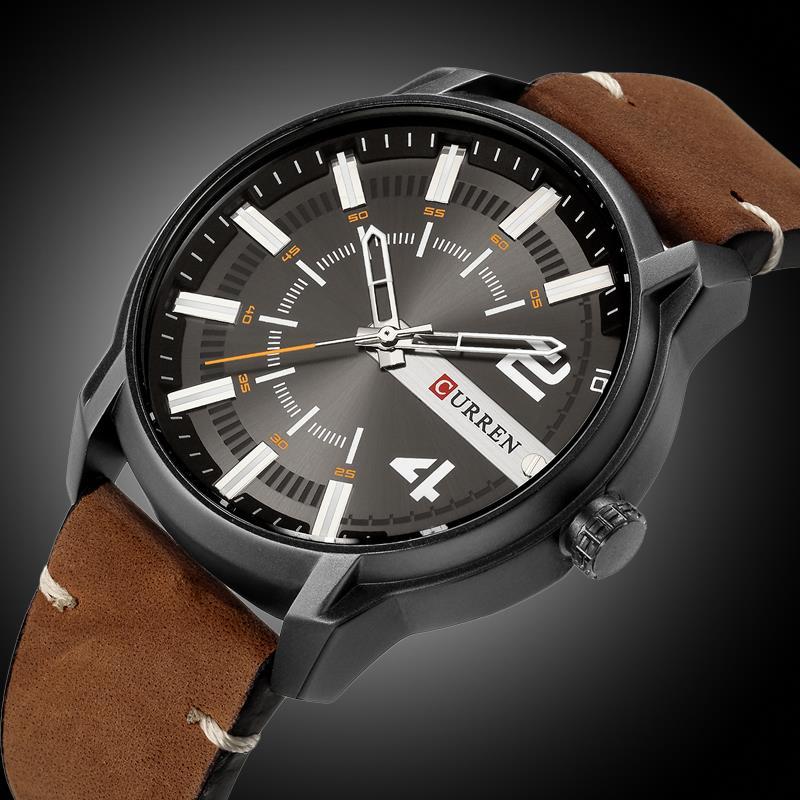 CURREN Nouveau Mode et Occasionnel Simple Hommes D'affaires Montres Classique Cadran bracelet en cuir Montres À Quartz Horloge 8314