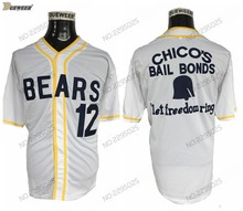 0e9ff0ba8d6 DUEWEER Mens Bad News Bears Movie 1976 Chico's Bail Bonds WHITE Men  Baseball Jersey 12 Tanner