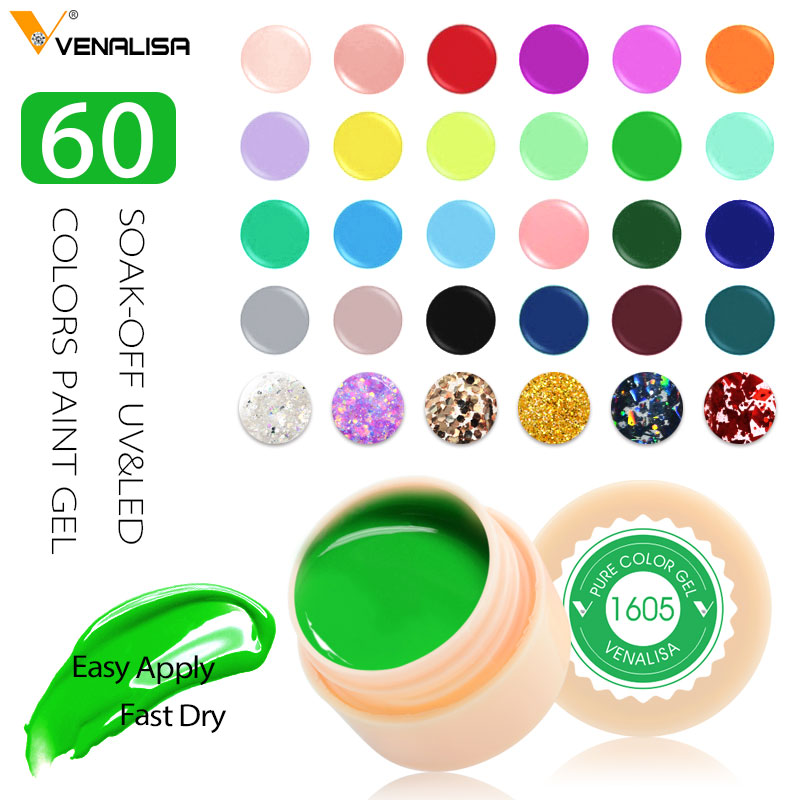 Venalisa УФ гель новый 2019 советы для дизайна ногтей маникюр 60 цветов УФ светодиодный Замачивание краска собственного приготовления гелевые чернила УФ гелевое покрытие для ногтей лак