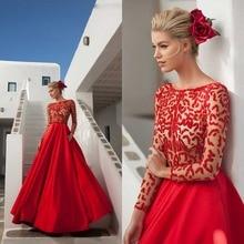2016 elegante A-linie U-ausschnitt Lange Rot Schwarz Satin Prom kleid Mit Ärmeln Volle Hülse Frauen Abend Formales Kleid Drapierte F1420