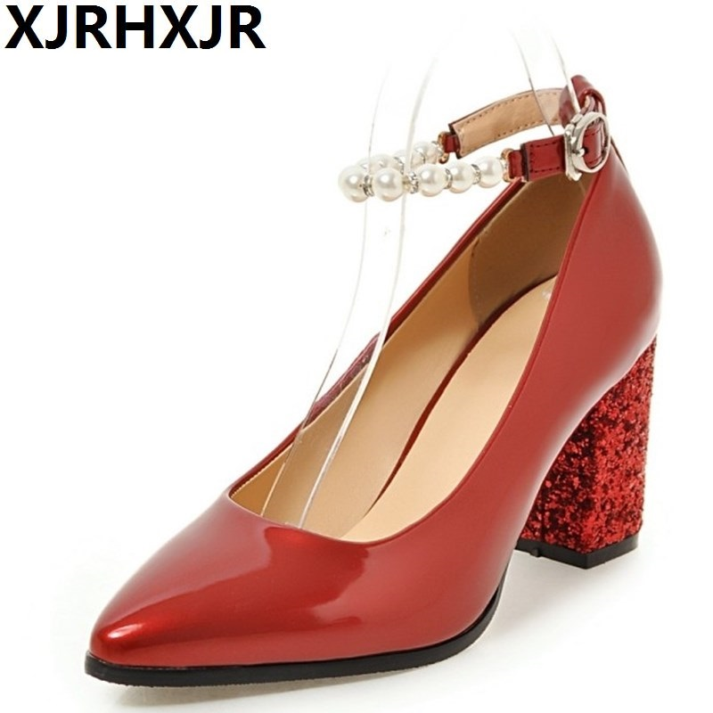 XJRHXJR Pointed Toe Shoes Brand Glitter Women High Heels Gladiator Ladies Party Wedding Pumps Fashion Square Heel Shoes Beading ladies red shoes 2018 spring patent cross straps gladiator pointed toe sandals women high heels party wedding pumps shoes 43