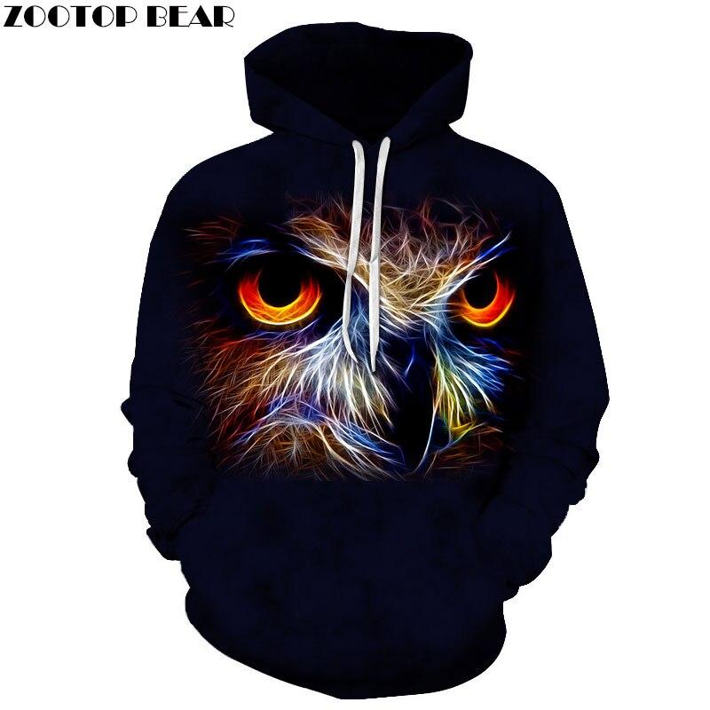Anime Owl Hoodies 3d Sweatshirts Men Women Tracksuit Black Hoodie Fashion Coat Winter Clothing Streetwear Drop Ship ZOOTOP BEAR