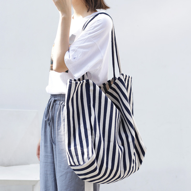 Women Canvas Large Shopping Bag Fashion Striped Cloth Reusable Tote Bag Leisure Shoulder Large Capacity Eco Shopper Bags 3