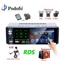 "Podofo Autoradio1 din Auto Radio 4.1 ""Pollici Touch Screen Car Stereo Multimedia MP5 Lettore Bluetooth RDS Supporto Micphone Subwoofer"