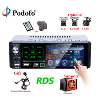 Podofo Autoradio1 din Car Radio 4.1 Inch Touch Screen Car Stereo Multimedia MP5 Player Bluetooth RDS Support Micphone Subwoofer