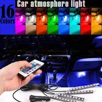 vorcool мульти цвет салона молдинги атмосферу неоновые огни лампы полосы 9 светодиодный беспроводной ик-пульт дистанционного управление