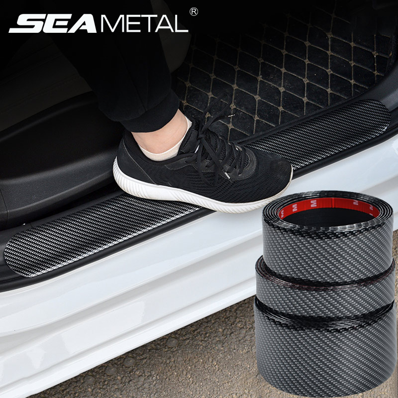 Accessories 5D Car Sticker Carbon Fiber Rubber Car Styling Door Sill Protector Edge Guard Goods Bumper Strip DIY Moulding Strips