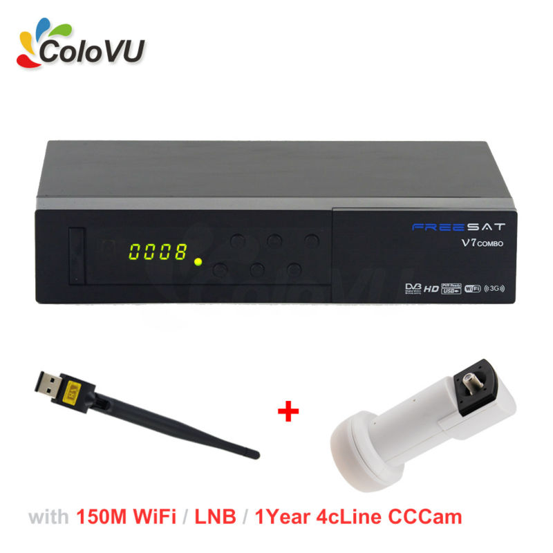 FreeSat V7 T2/S2 Combo + USB WiFi + 1Year 4cLine CCCam Account for Europe + Universal Ku Band Single LNB support PowerVU IPTV