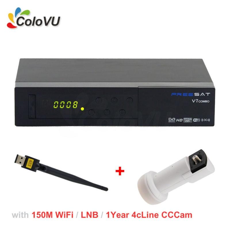 FreeSat V7 T2/S2 Combo + USB WiFi + 1Year 4cLine CCCam Account for Europe + Universal Ku Band Single LNB support PowerVU IPTV sr 320 universal dual polarization ku waveband lnb for digital receiver white grey