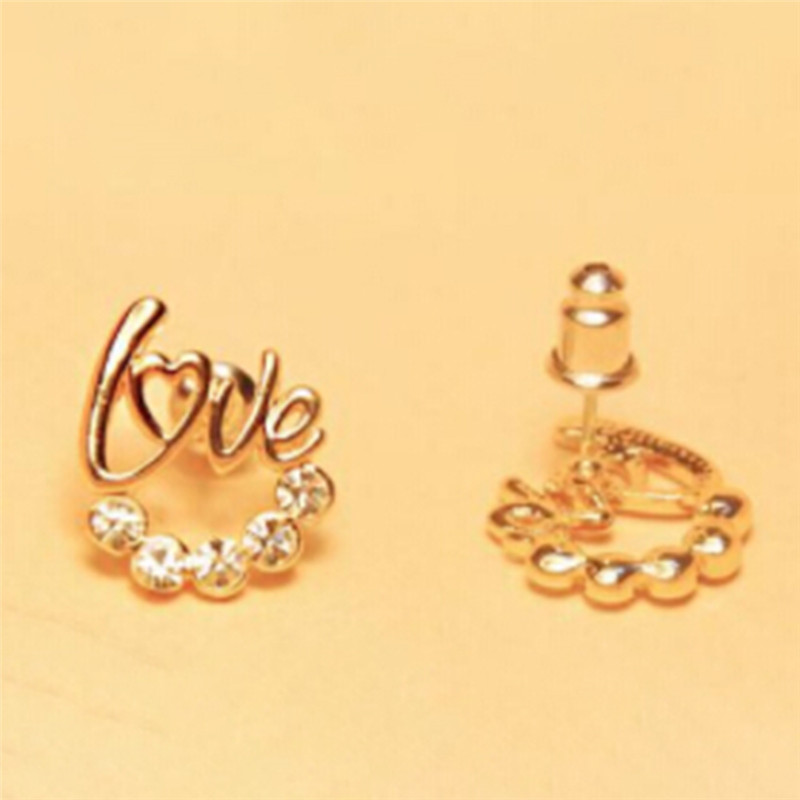 New Fashion Love Heart Earrings Jewelry Gold Color Zirconia Crystal Stones Stud Earrings Girls Female