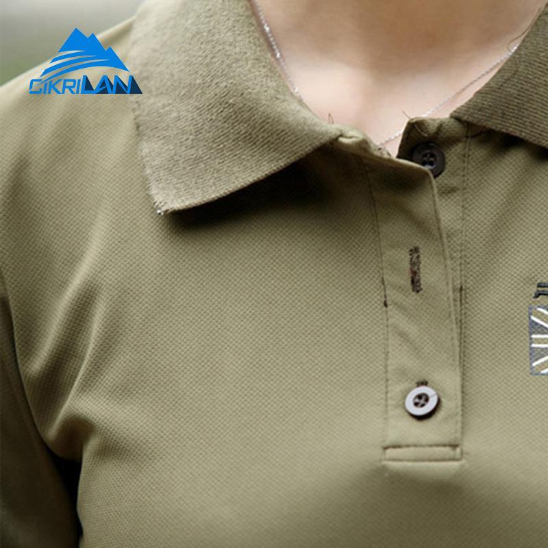 Ladies Summer Quick Dry Turn Down Collar Sports T-shirt Short Sleeve Outdoor Running Combat Military Polo Shirt Hiking Camiseta