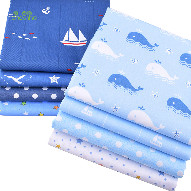Chainho,Ocean Series,8pcs/lot,Print Twill Cotton Fabric,Patchwork Cloth For DIY Quilting Sewing Baby&Child Sheets Dress Material