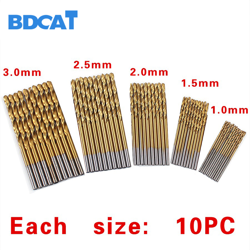 50Pcs/Set Twist Drill Bit Set electric High Steel cordless Coated Dremel Drill bits with Woodworking 1/1.5/2/2.5/3mm For Metal best promotion 10pcs set diamond holesaw 3 50mm drill bit set tile ceramic porcelain marble glass top quality