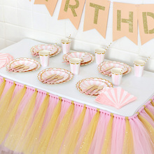 1pack Gold Foil Pink Disposable Tableware Christmas New Year Party Paper Plates Cups Birthday Party Supplies Plastic Straws